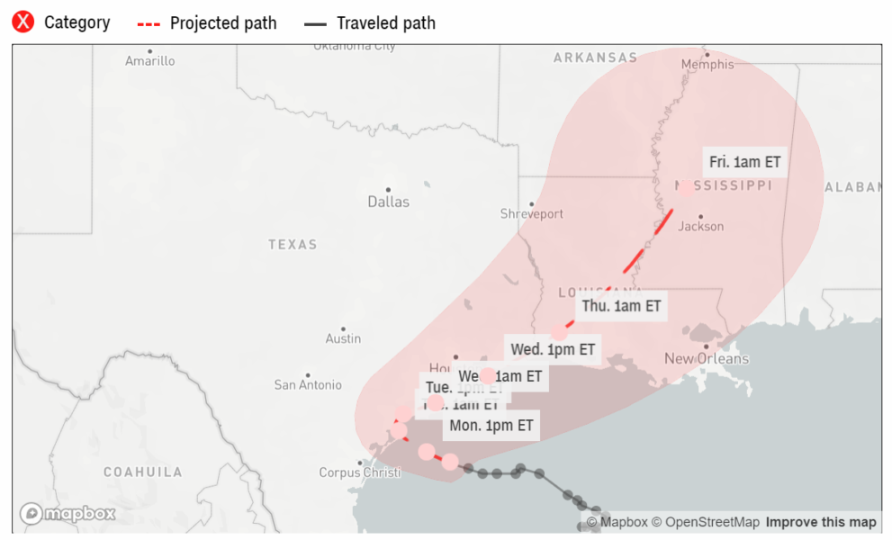2020 Tropical Storm Beta Projected Path