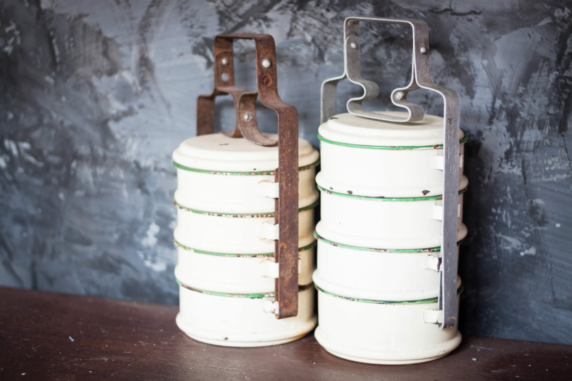 Food containers on asian kitchen shelf